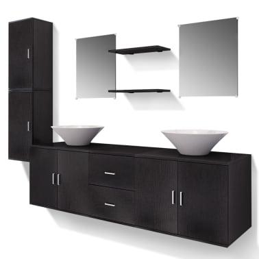 vidaXL 9-Delni Komplet Kopalniškega Pohištva z Umivalnikom Črne Barve[2/14]