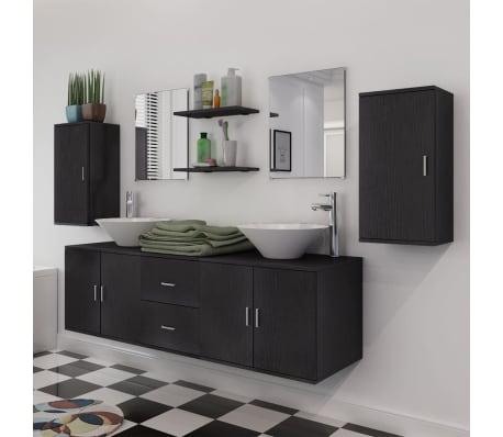 vidaXL 9-Delni Komplet Kopalniškega Pohištva z Umivalnikom Črne Barve[4/14]