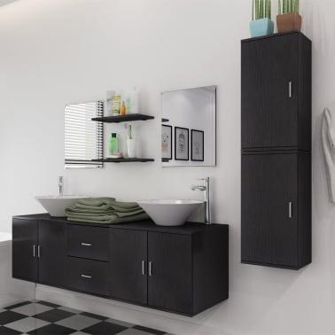 vidaXL 9-Delni Komplet Kopalniškega Pohištva z Umivalnikom Črne Barve[3/14]