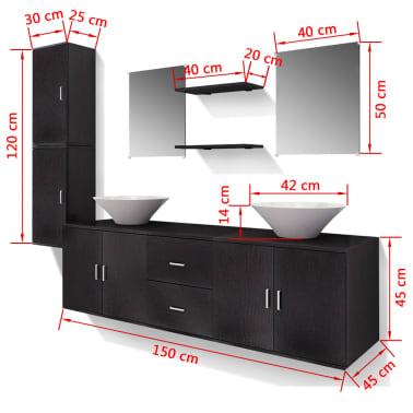 vidaXL 9-Delni Komplet Kopalniškega Pohištva z Umivalnikom Črne Barve[14/14]