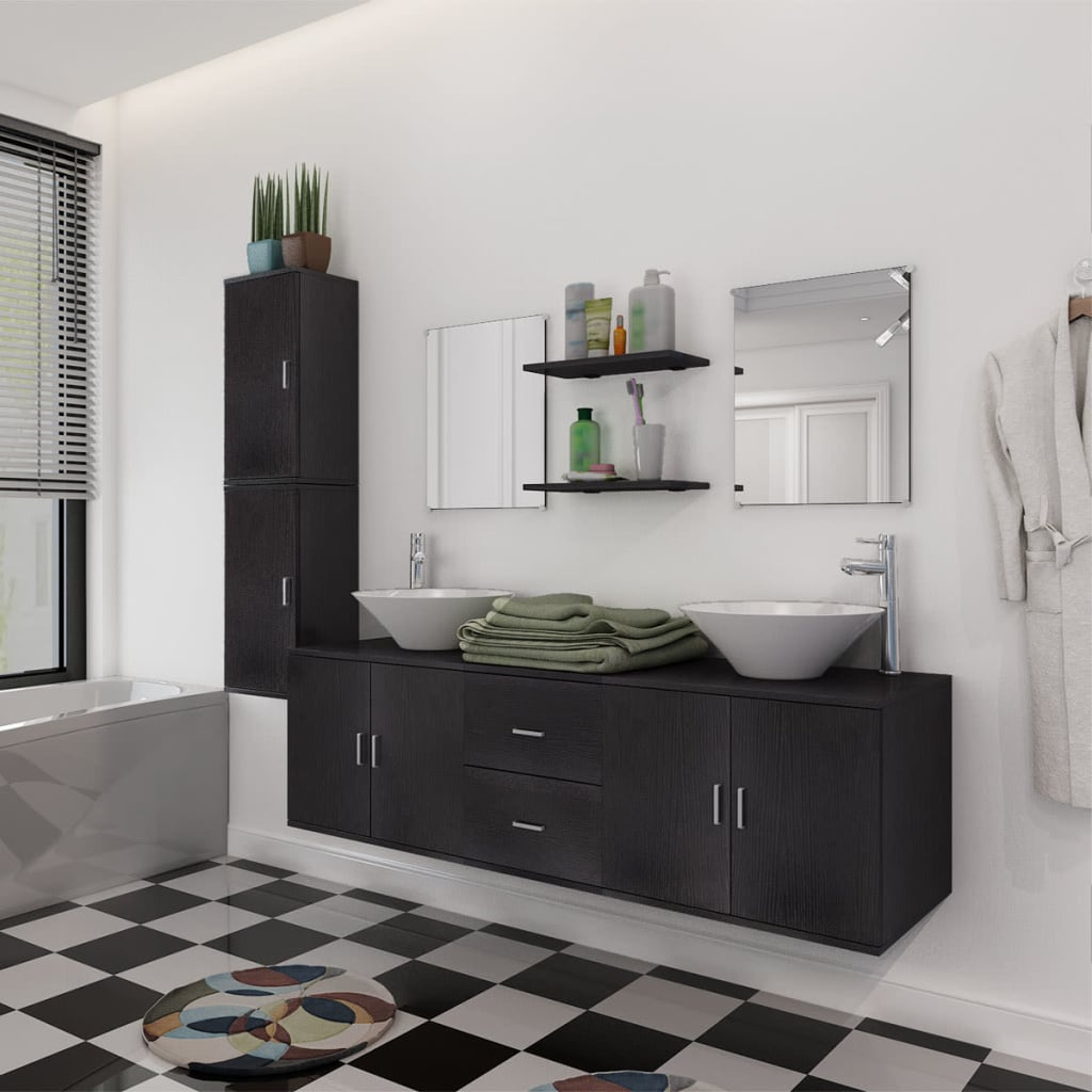 vidaXL Møbelsæt m. håndvask til badeværelset ni dele sort