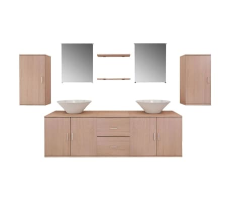 vidaXL комплект мебели от 9 части и мивка за баня, бежов цвят