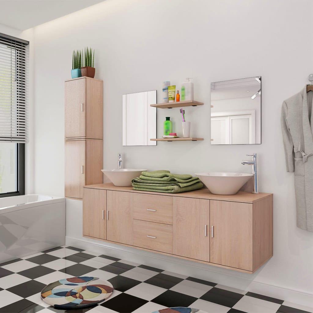 Devítikusový set koupelnového nábytku a umyvadel, béžový