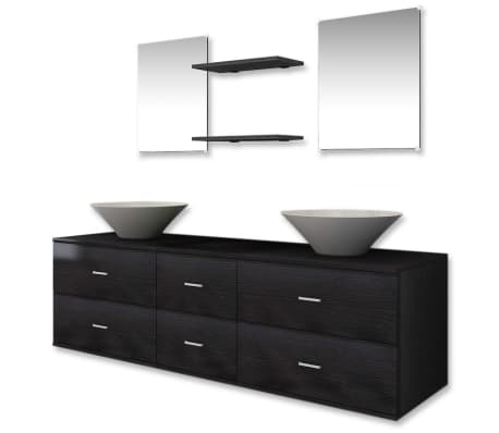 vidaXL Sedem delni komplet kopalniškega pohištva z umivalnikoma črni[2/10]