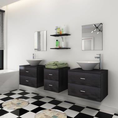 vidaXL Sedem delni komplet kopalniškega pohištva z umivalnikoma črni[3/10]