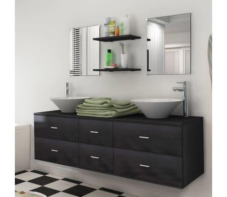 vidaXL Sedem delni komplet kopalniškega pohištva z umivalnikoma črni[1/10]