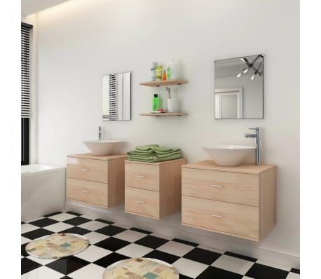 vidaXL 7 d. baldų ir praustuvo komplektas vonios kambariui, smėlio sp.[3/10]