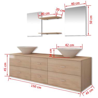 vidaXL 7 d. baldų ir praustuvo komplektas vonios kambariui, smėlio sp.[10/10]