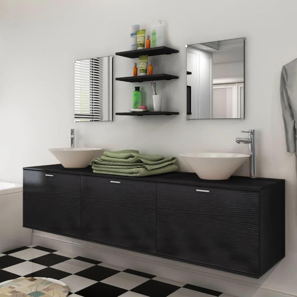 kaheksaosaline vannitoa mööbli- ja valamukomplekt must