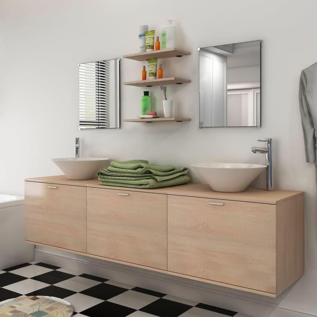 vidaXL Osmikusový set koupelnového nábytku s umyvadlem a baterií, béžový