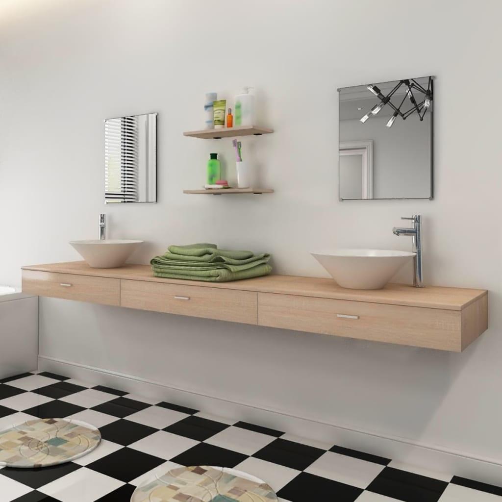 vidaXL Set mobilier baie format din 7 piese cu chiuvete incluse, Bej imagine vidaxl.ro