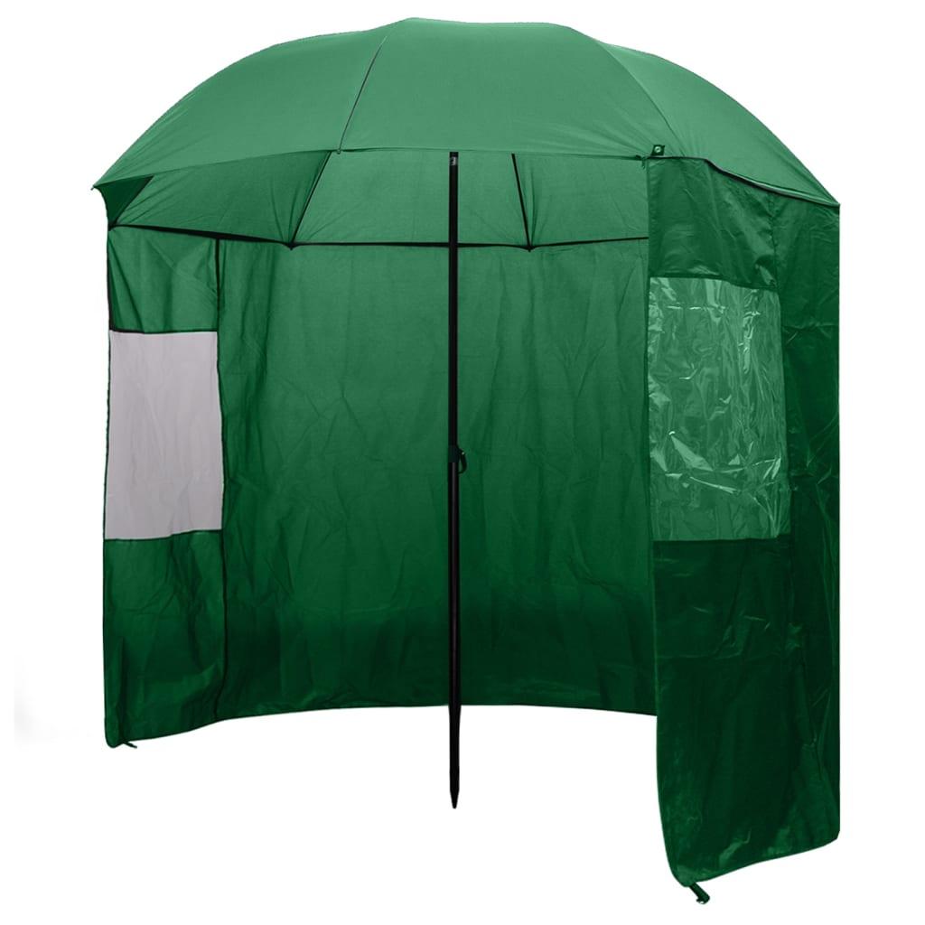 vidaXL Rybářský deštník zelený 240 x 210 cm