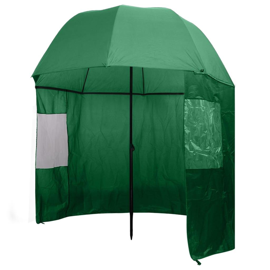vidaXL Rybářský deštník zelený 300 x 240 cm
