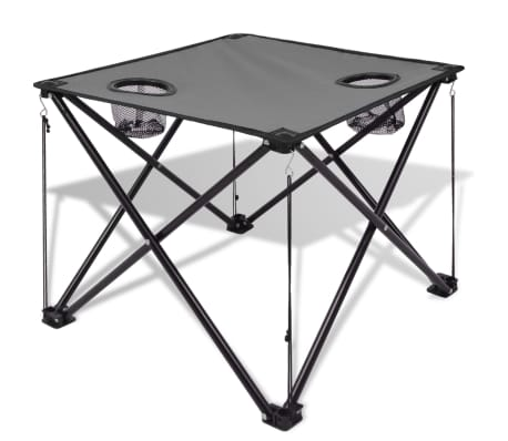 vidaxl table et 2 chaises de camping gris. Black Bedroom Furniture Sets. Home Design Ideas