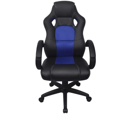 vidaXL Chaise de bureau en cuir artificiel Bleu[2/6]