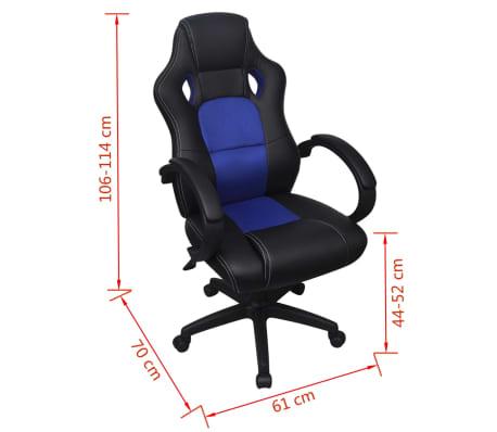 vidaXL Chaise de bureau en cuir artificiel Bleu[6/6]