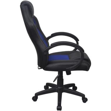 vidaXL Chaise de bureau en cuir artificiel Bleu[3/6]