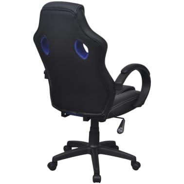 vidaXL Chaise de bureau en cuir artificiel Bleu[4/6]