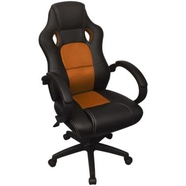 vidaXL Biuro Kėdė, Sportinės Sėdynės Stiliaus, Oranžinė, Dirbtinė Oda[1/6]