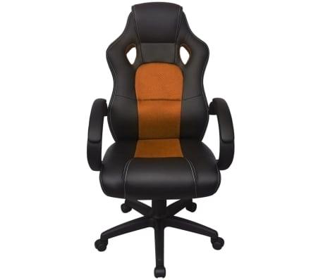 vidaXL Biuro Kėdė, Sportinės Sėdynės Stiliaus, Oranžinė, Dirbtinė Oda[2/6]