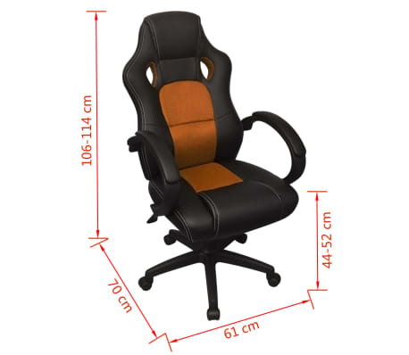 vidaxl executive racing b rostuhl orange kunstleder g nstig kaufen. Black Bedroom Furniture Sets. Home Design Ideas