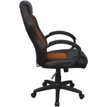 vidaXL Biuro Kėdė, Sportinės Sėdynės Stiliaus, Oranžinė, Dirbtinė Oda[3/6]