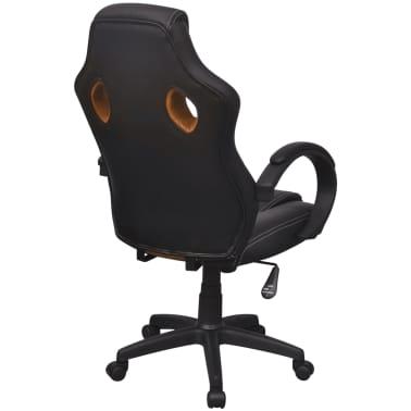 vidaXL Biuro Kėdė, Sportinės Sėdynės Stiliaus, Oranžinė, Dirbtinė Oda[4/6]