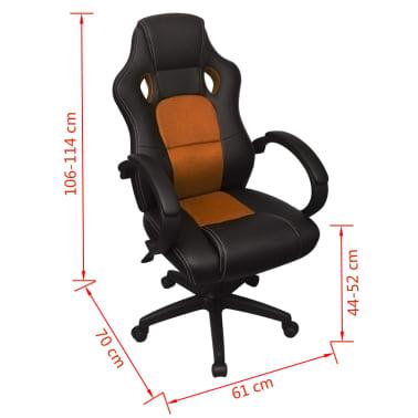 vidaXL Biuro Kėdė, Sportinės Sėdynės Stiliaus, Oranžinė, Dirbtinė Oda[6/6]
