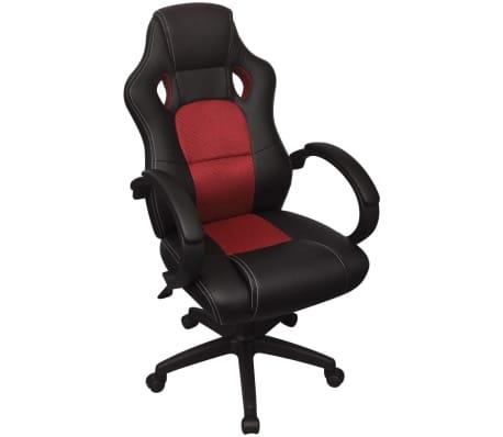 vidaXL Biuro Kėdė, Sportinės Sėdynės Stiliaus, Raudona, Dirbtinė Oda[1/6]