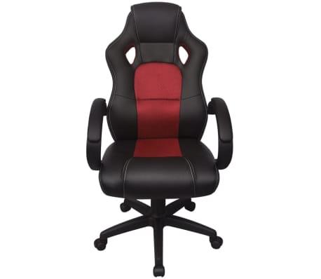 vidaXL Biuro Kėdė, Sportinės Sėdynės Stiliaus, Raudona, Dirbtinė Oda[2/6]