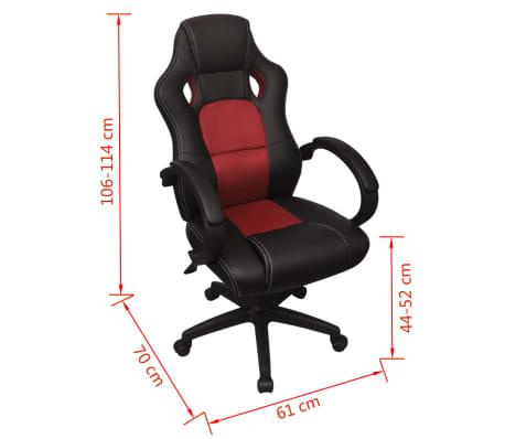 vidaXL Biuro Kėdė, Sportinės Sėdynės Stiliaus, Raudona, Dirbtinė Oda[6/6]