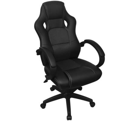 vidaXL Chaise de bureau en cuir artificiel Noir[1/6]