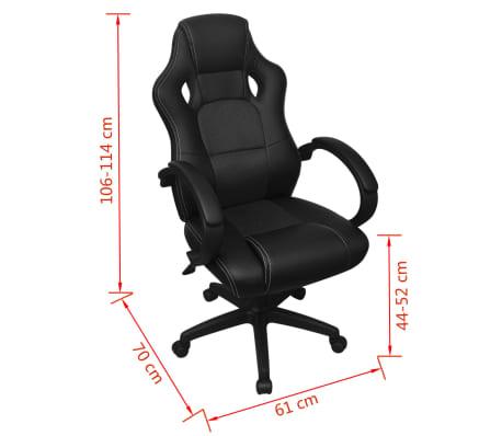 vidaXL Chaise de bureau en cuir artificiel Noir[6/6]