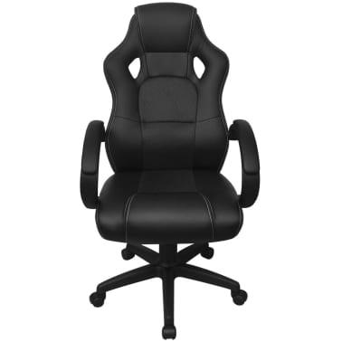 vidaXL Chaise de bureau en cuir artificiel Noir[2/6]
