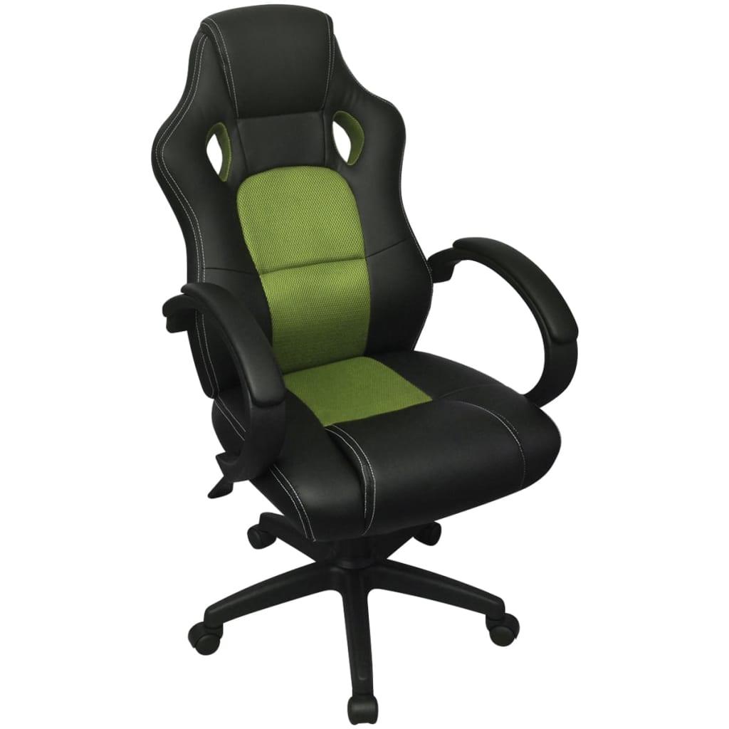 vidaXL Scaun de birou design racing din piele artificială, Verde imagine vidaxl.ro