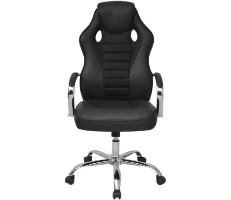 vidaXL Biuro Kėdė, Sportinės Sėdynės Stiliaus, Juoda, Dirbtinė Oda[2/6]