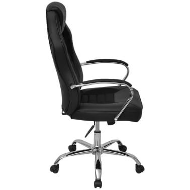 vidaXL Biuro Kėdė, Sportinės Sėdynės Stiliaus, Juoda, Dirbtinė Oda[3/6]