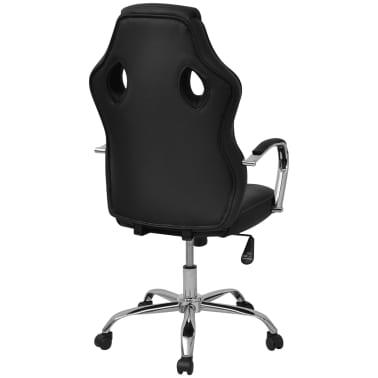 vidaXL Biuro Kėdė, Sportinės Sėdynės Stiliaus, Juoda, Dirbtinė Oda[4/6]