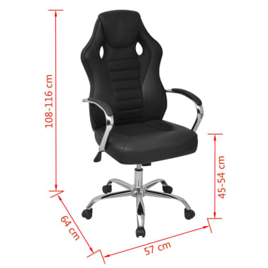 vidaXL Biuro Kėdė, Sportinės Sėdynės Stiliaus, Juoda, Dirbtinė Oda[6/6]