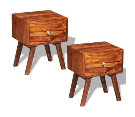 vidaXL 2 szafki nocne z szufladą, lite drewno sheesham, wys. 55 cm[1/5]