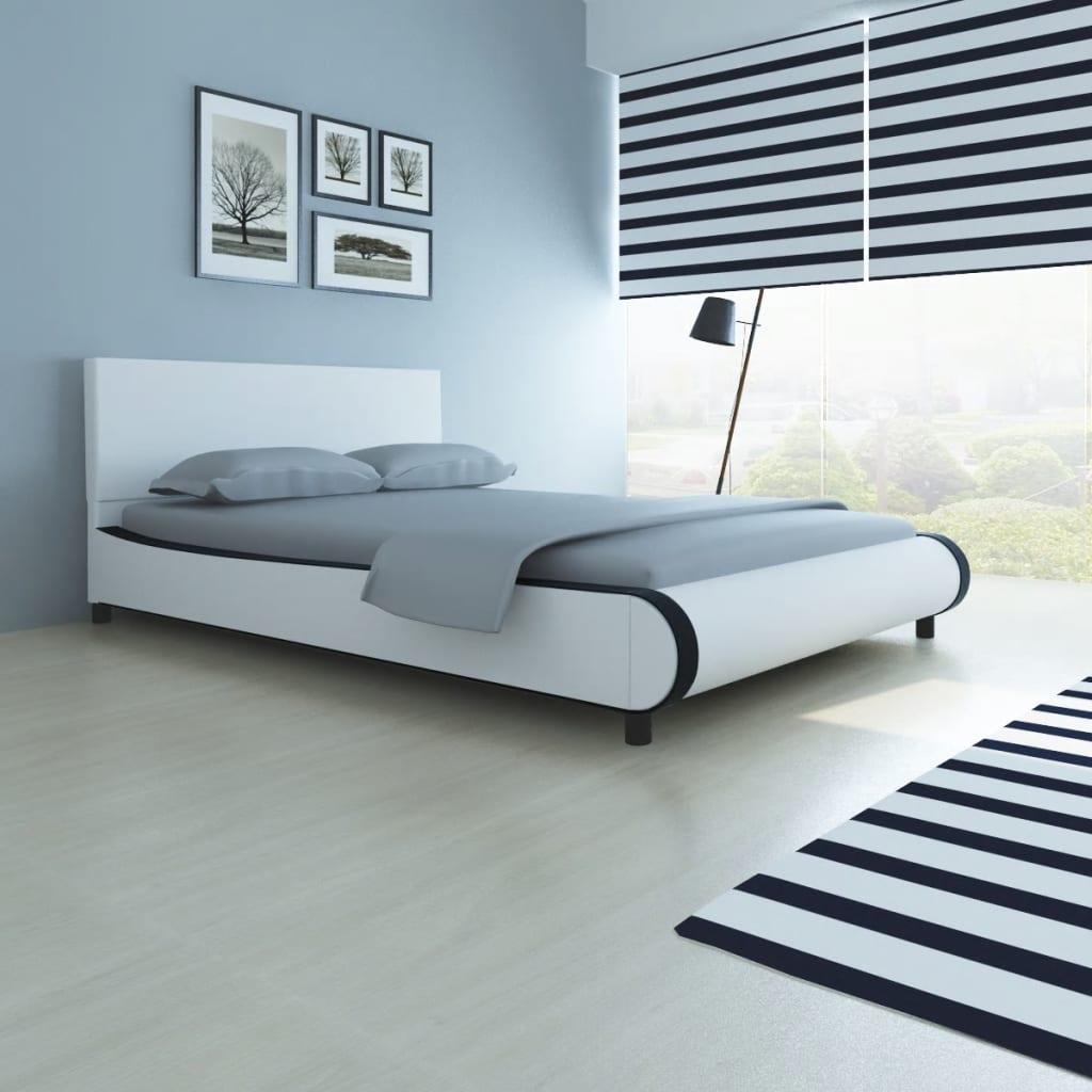 vidaXL Postel s matrací umělá kůže 140 x 200 cm bílá