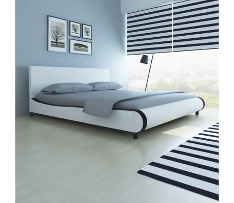 vidaXL Lit avec matelas 180 x 200 cm Cuir synthétique Blanc[1/10]