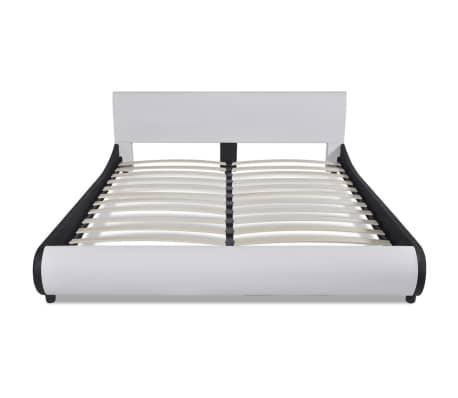 vidaXL Bett mit Memory-Schaum-Matratze Kunstleder 180 x 200 cm Weiß[3/12]