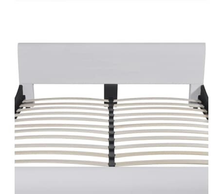 vidaXL Lit et matelas à mémoire 180 x 200 cm Cuir synthétique Blanc[4/12]