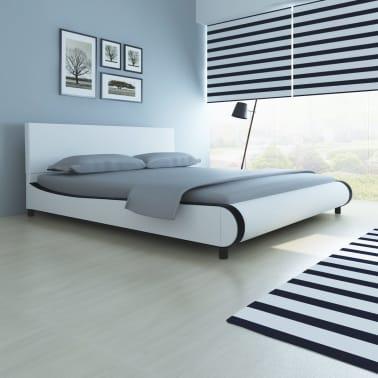 vidaXL Bett mit Memory-Schaum-Matratze Kunstleder 180 x 200 cm Weiß[1/12]
