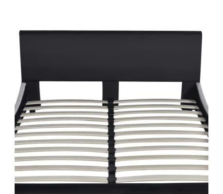 vidaXL Bett mit Matratze Kunstleder 140 x 200 cm Schwarz[4/10]