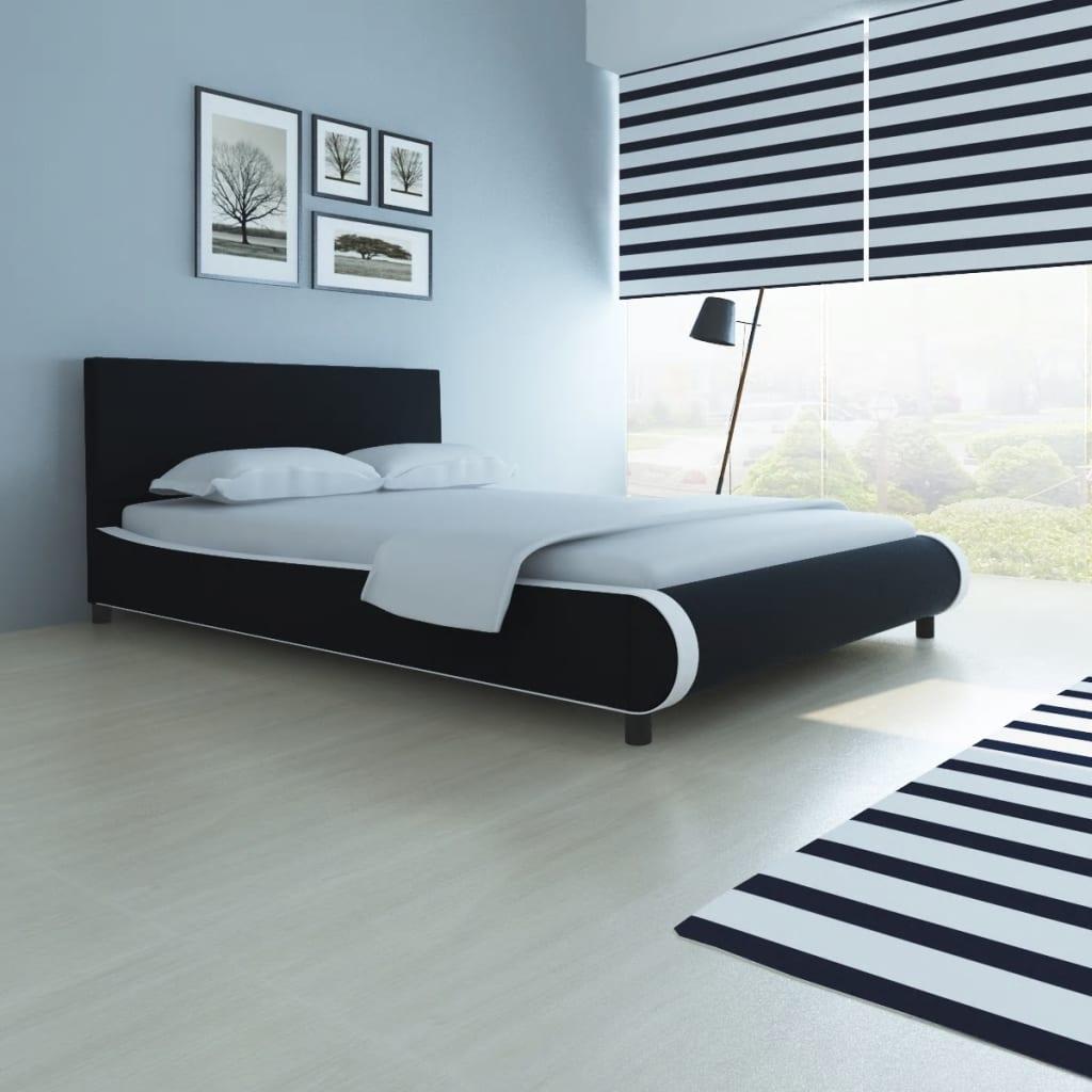 vidaXL Pat cu saltea, negru, 140 x 200 cm, piele artificială imagine vidaxl.ro