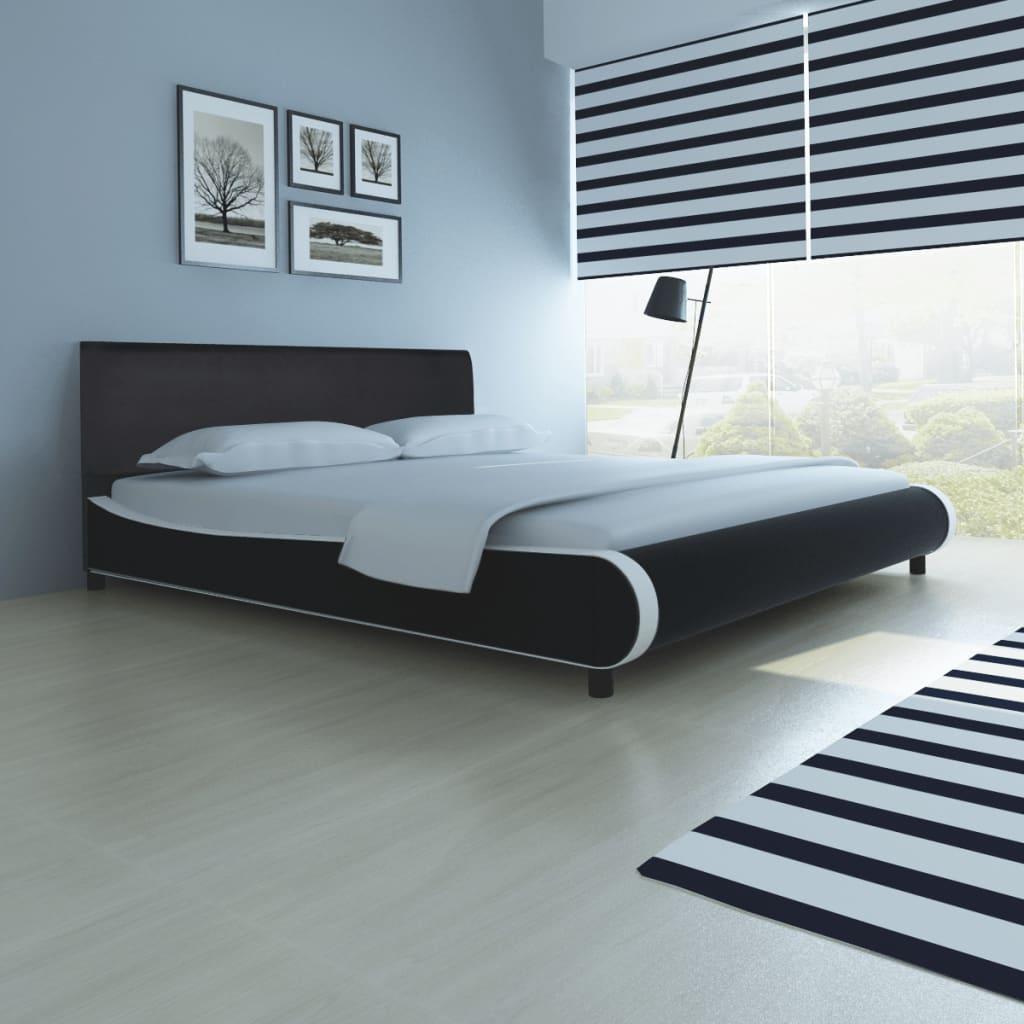 vidaXL Postel s matrací z paměťové pěny umělá kůže 180 x 200 cm černá