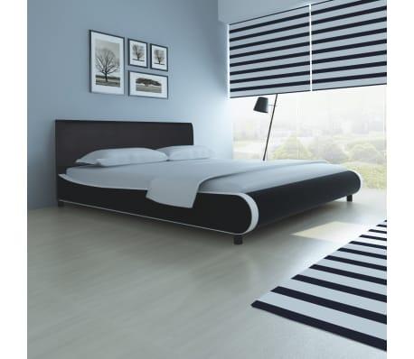 vidaXL Lova su čiužiniu Memory, dirbtinė oda, 180x200 cm, juoda[1/12]