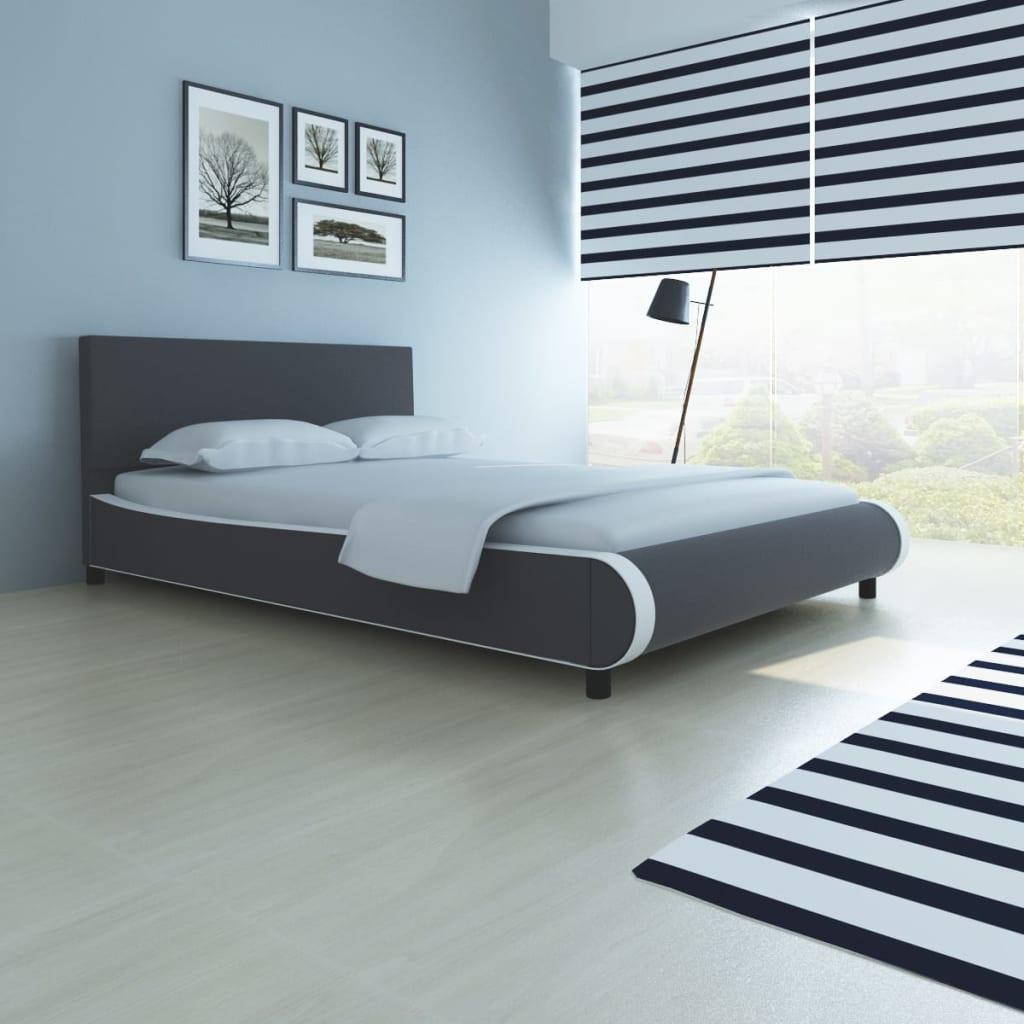 vidaXL Postel s matrací, umělá kůže, 140 x 200 cm, šedá